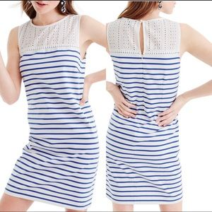 J Crew Eyelet Lace Yoke Striped Dress Size Large